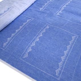 Ткань на отрез лен купонный волна цвет голубой фото