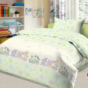 Детское постельное белье из поплина 1.5 сп 5636/4 Паровозик звездочка фото