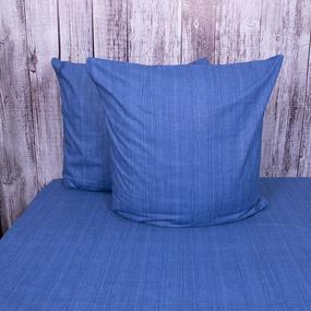 Постельное белье из перкаля 2049315 Эко 15 синий Евро с нав 70/70 фото