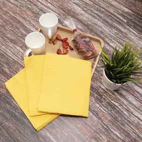 Набор вафельных полотенец Премиум 3 шт 45/70 см 257 желтый фото