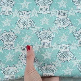 Ткань на отрез бязь ГОСТ Шуя 150 см 9946/3 Совушки цвет мята фото