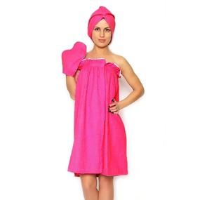 Набор для сауны женский цвет малиновый фото