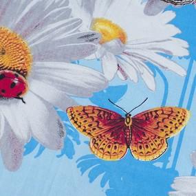 Комплект простыня 1.5 сп + 1 нав. 70/70 бязь 1351/2 Ромашки цвет голубой фото