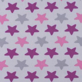Ткань на отрез флис Звезды 40995/1 цвет сирень фото