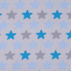 Ткань на отрез флис Звезды 40995/2 цвет голубой фото