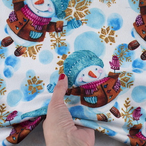 Ткань на отрез микрофлис Снеговик 14814 фото