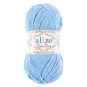 Пряжа для вязания Ализе BabyBest (90%акрил, 10%бамбук) 100гр цвет 040 голубой фото