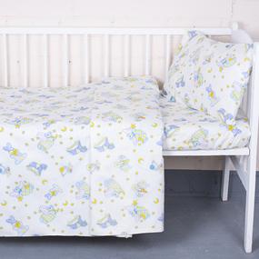Постельное белье в детскую кроватку 9841/1 Кроха поплин с простыней на резинке фото