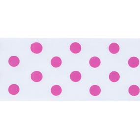 Лента атласная горох ширина 50 мм (27,4 м) цвет 029187 белый-розовый фото