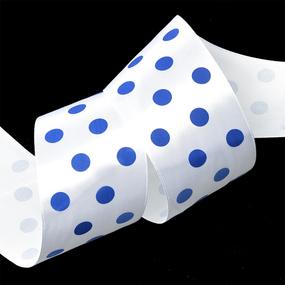 Лента атласная горох ширина 50 мм (27,4 м) цвет 029329 белый-синий фото