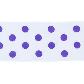 Лента атласная горох ширина 50 мм (27,4 м) цвет 029465 белый-сиреневый фото