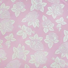 Ткань на отрез Тик 220 см розы 50% полиэстер 50% хлопок цвет розовый фото