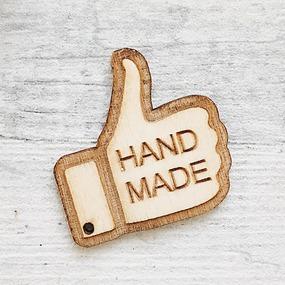 Ярлык-бирка из дерева Hand Made 40х39мм фото