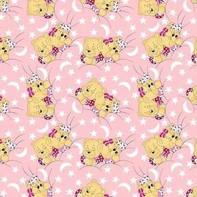 Ткань на отрез бязь ГОСТ детская 150 см 1286/2 Соня розовый фото