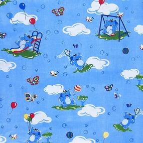 Маломеры бязь ГОСТ детская 150 см 315/1 Слоники голубой 8.5 м фото