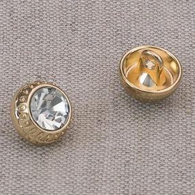 Пуговица металл ПМ68 10мм золото кристалл уп 12 шт фото