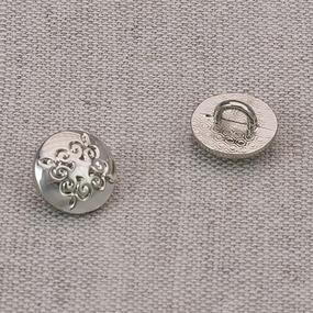 Пуговица металл ПМ69 10мм никель узор уп 12 шт фото