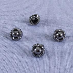 Пуговица металл ПМ70 10мм черный никель цветок уп 12 шт фото