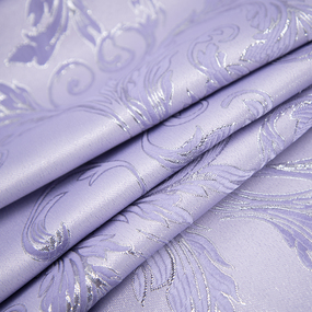 Портьерная ткань с люрексом 150 см на отрез Х7187 цвет сиреневый вензель фото