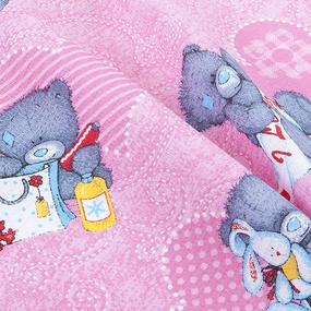Полотенце вафельное 35/70 см 294/4 Мишутки цвет розовый фото