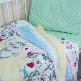 Постельное белье в детскую кроватку из поплина 10761/1 Пушистик с простыней на резинке фото
