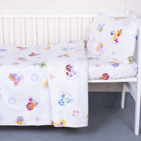 Постельное белье в детскую кроватку 5031/1 Бусинка компаньон цвет розовый с простыней на резинке фото