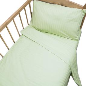 Постельное белье в детскую кроватку Салатовый страйп- сатин фото