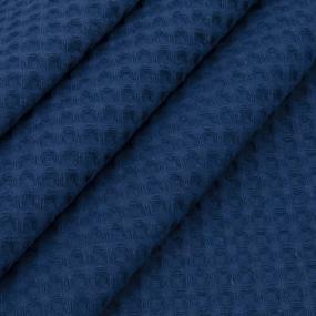 Ткань на отрез вафельное полотно гладкокрашенное 150 см 240 гр/м2 7х7 мм цвет 572 темно-синий фото