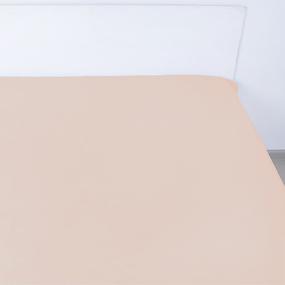Простынь на резинке сатин цвет миндаль 140/200/20 см фото