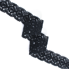 Кружево лен 40871 Чёрный 3,5 см 1метр фото