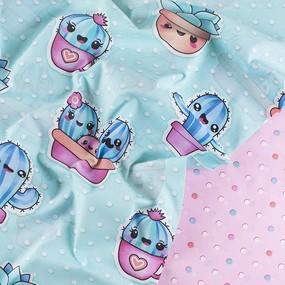 Ткань на отрез бязь 120 гр/м2 детская 150 см 203321 Кактусы основа фото