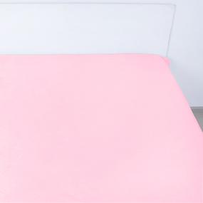 Простынь на резинке поплин цвет розовый 160/200/20 см фото