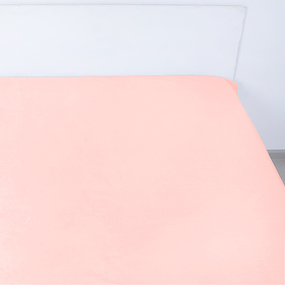 Простынь на резинке поплин цвет персик 140/200/20 см фото
