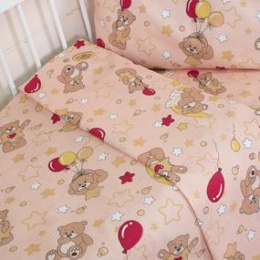 Постельное белье в детскую кроватку из бязи ГОСТ 350/4 Мишки бежевый фото
