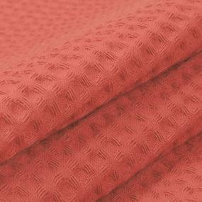Ткань на отрез вафельное полотно гладкокрашенное 150 см 240 гр/м2 7х7 мм цвет 145 коралл фото