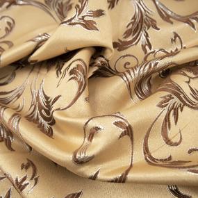 Портьерная ткань с люрексом 150 см на отрез Х7187 цвет 11 бежевый вензель фото