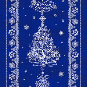 Ткань на отрез дорожка 50 см 35056/3 New Year цвет синий фото