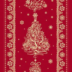 Ткань на отрез дорожка 50 см 35056/1 New Year цвет красный фото