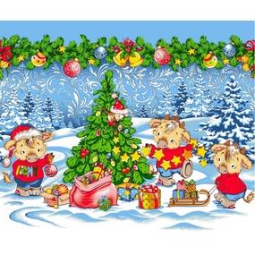 Ткань на отрез вафельное полотно 50 см 5649/1 Новогодние радости фото
