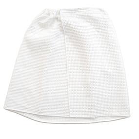 Вафельная накидка на резинке для бани и сауны Премиум женская с широкой резинкой цвет белый фото