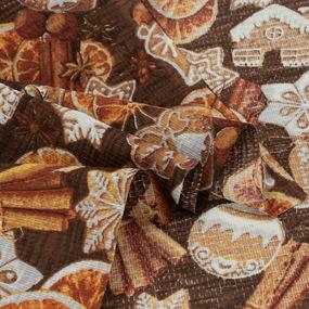Ткань на отрез вафельное полотно набивное 150 см 3050-1 Корица цвет коричневый фото