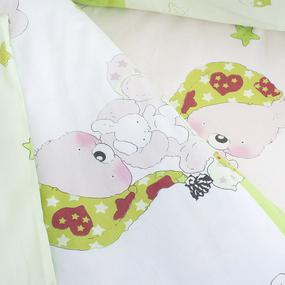 Постельное белье в детскую кроватку 1636/3 Мой ангелочек салатовый поплин с простыней на резинке фото