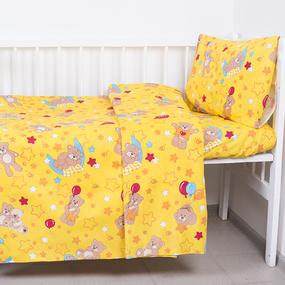 Пододеяльник детский из бязи ГОСТ 350/5 Мишки цвет желтый, 110х145 см фото