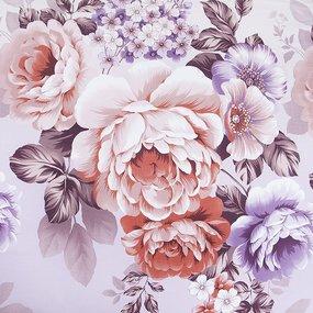 Простыня на резинке Карамельная роза поплин 140/200/20 см фото