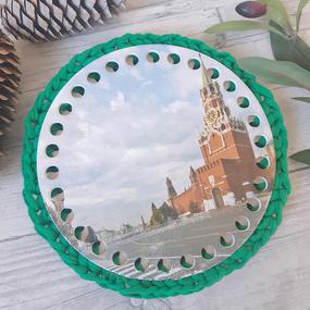 Круглое донышко с печатью Кремль 15см фото