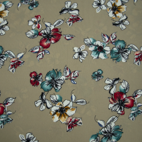 Ткань на отрез шифон 150 см 1977 Цветы на бежевом фото
