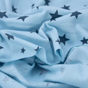 Ткань на отрез кулирка 1100-V27 Звезды цвет голубой фото