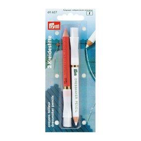 611627 PRYM Меловой карандаш со стирающей кисточкой 11см цв. белый/розовый уп.2шт фото