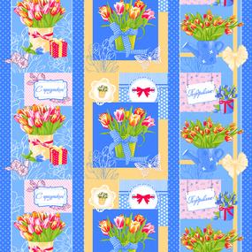 Вафельное полотно набивное 150 см 449/1 Тюльпаны фото