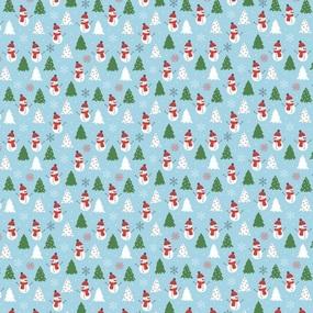 Ткань на отрез рогожка 150 см 20209/1 Снеговик цвет голубой фото